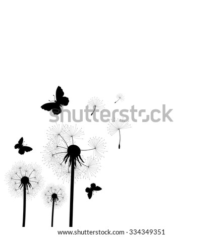 vector illustration of dandelion seeds blown in the wind - stock vector