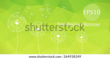 Vector  illustration of dandelions on a wind loses the integrity, blue polygonal background. - stock vector
