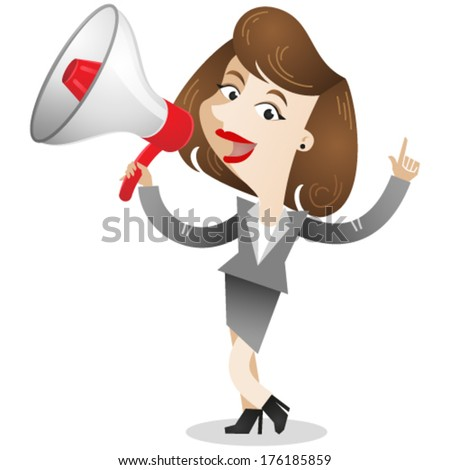 Vector illustration of dark-haired cartoon business woman talking into a megaphone (JPEG version also available in my gallery).  - stock vector