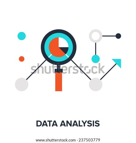 Vector illustration of data analysis flat design concept. - stock vector