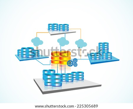 Vector illustration of Data warehousing and represents data integration, data extract, load and transformation from one database to other through data warehouse, big data servers - stock vector