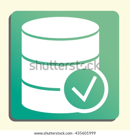 Vector illustration of database accept sign icon on green light ...