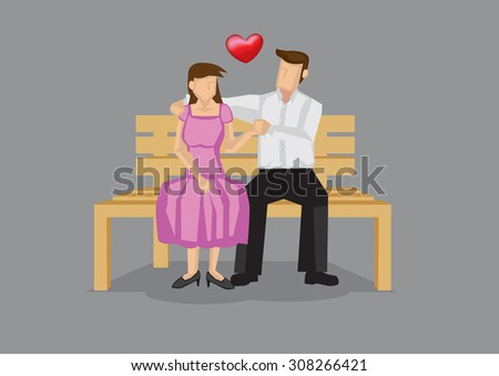 Vector illustration of dating couple sitting on wooden bench and holding hands isolated on plain grey background. - stock vector