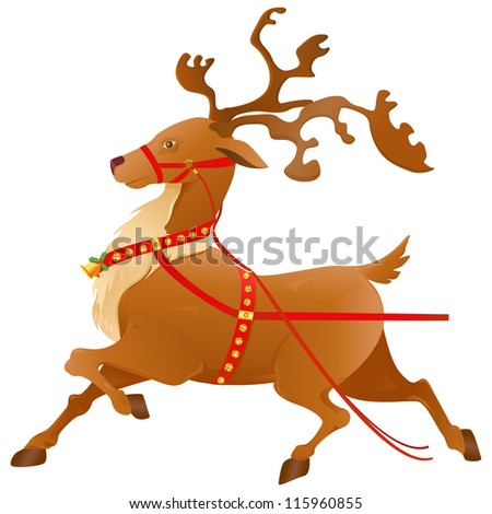 vector illustration of decorated Christmas reindeer for Santa sledge - stock vector