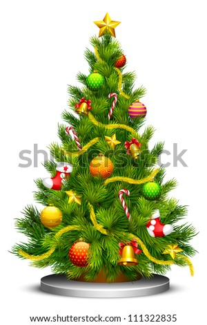 vector illustration of decorated Christmas tree - stock vector
