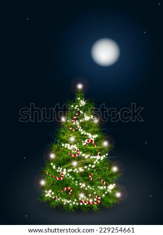 Vector illustration of decorated Christmas tree on a winter night landscape - stock vector