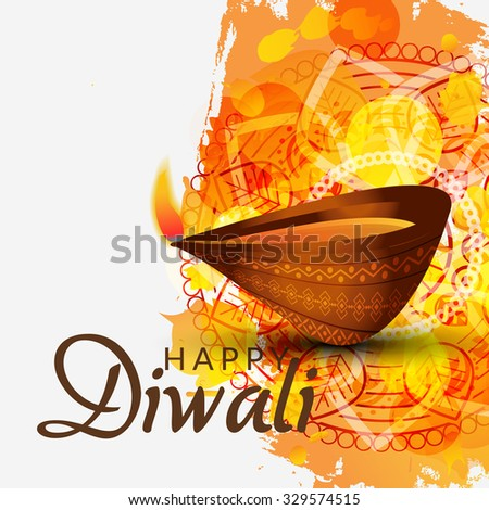 Vector illustration of decorated Diwali diya on colorful background.  - stock vector