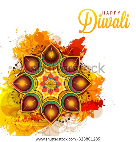 Vector illustration of decorated Diwali diya on colourful Background. - stock vector