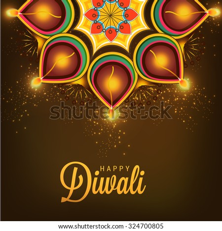 Vector illustration of decorated Diwali diya on flower rangoli. - stock vector