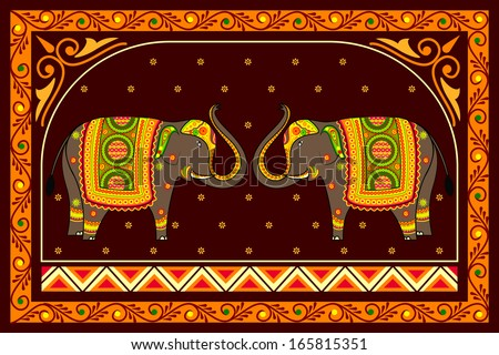 vector illustration of decorated elephant - stock vector