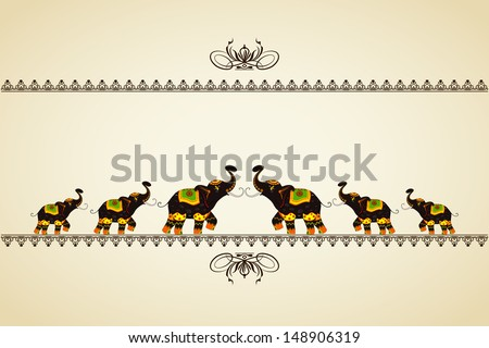vector illustration of decorated elephant showing Indian culture - stock vector