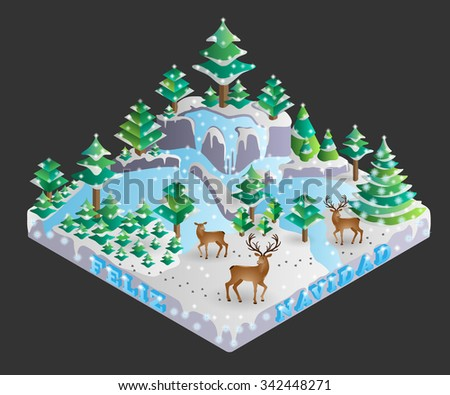 Vector illustration of decorated forest on Christmas Eve shown in isometric view with spanish translated marry christmas as feliz navidad. - stock vector