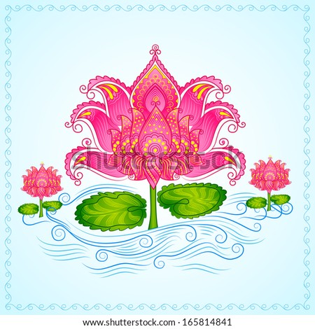 vector illustration of Decorated Lotus Flower - stock vector