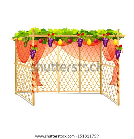vector illustration of decorated sukkah for celebrating Sukkot - stock vector