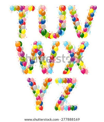 Vector illustration of decorative balloons letters T-Z.