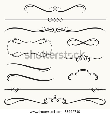 Vector illustration of decorative border and frame set. - stock vector