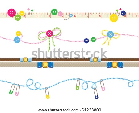 Vector illustration of decorative borders. Each end of a border can be connected seamlessly so you can make it as long as you want. - stock vector