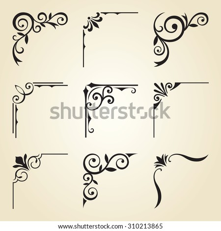Vector illustration of decorative corner frame set. - stock vector