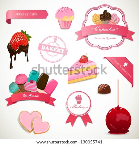 Vector Illustration of Decorative Dessert Labels and Elements - stock vector