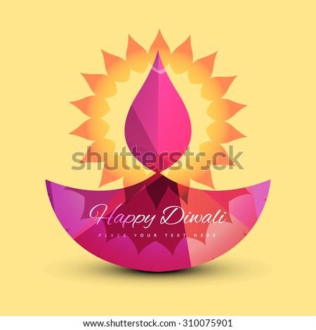 Vector Illustration of  decorative Diwali beautiful card colorful design - stock vector