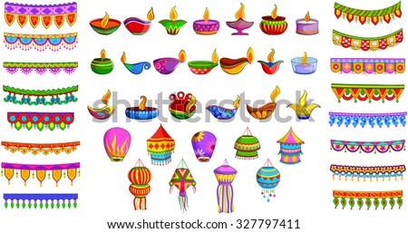 vector illustration of decorative diya, hanging kandil lantern and toran for Indian festival - stock vector