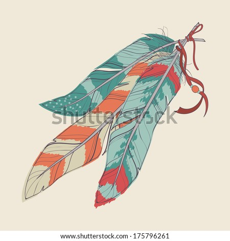 Vector illustration of decorative feathers - stock vector