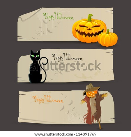Vector Illustration of Decorative Halloween Banners