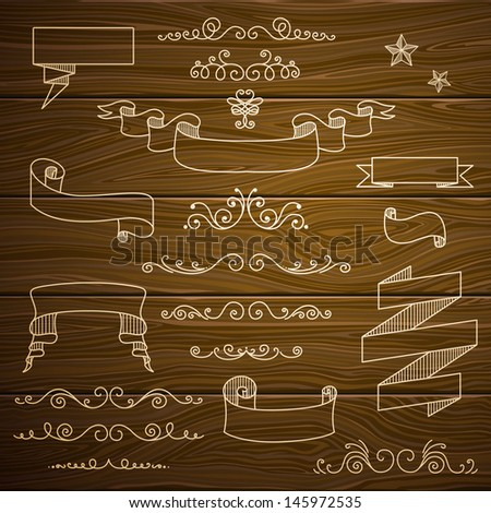 Vector Illustration of Decorative Vintage Design Elements on a Wooden Background - stock vector