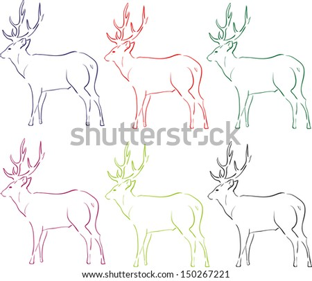 Vector illustration of deer in contour lines