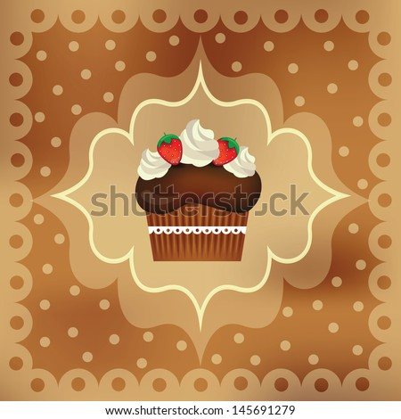 Vector illustration of Delicious cupcake with beautiful decoration, isolated on fancy background