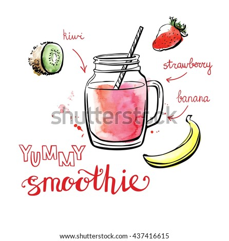 Vector illustration of delicious fruit smoothie. Hand drawn recipe of healthy drink made of kiwi, banana and strawberry. Black outline and bright textured stains with artistic drips. Isolated on white - stock vector