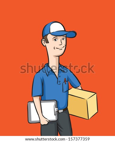 Vector illustration of delivery man with box and clipboard. Easy-edit layered vector EPS10 file scalable to any size without quality loss. High resolution raster JPG file is included. - stock vector