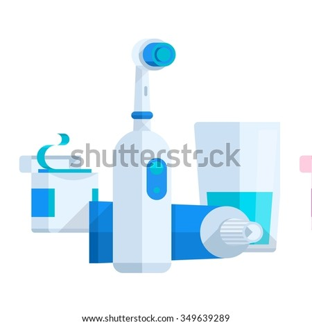 vector illustration of dental items, flat style - stock vector