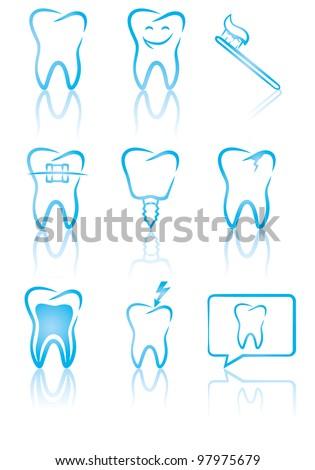 Vector illustration of dental symbols - stock vector