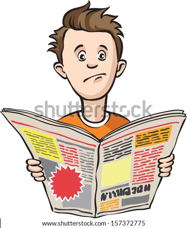 Vector illustration of depressed guy with newspaper. Easy-edit layered vector EPS10 file scalable to any size without quality loss. High resolution raster JPG file is included. - stock vector