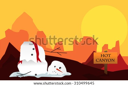 Vector illustration of desert canyon with sun and melting snowman - stock vector