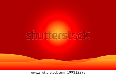 Vector illustration of desert landscape at sunset. - stock vector