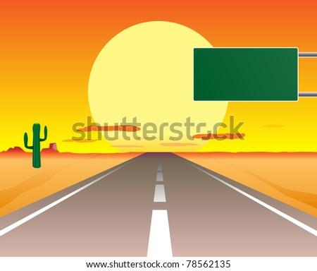 vector illustration of desert road in the sunset - stock vector