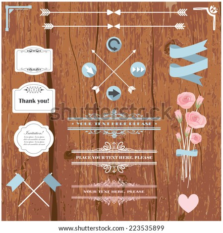 Vector illustration of design elements for wedding invitations, birthdays, scrapbook - stock vector
