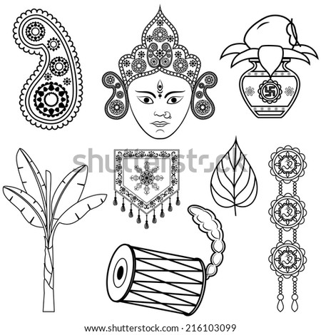 vector illustration of design for Dussehra decoration with Durga - stock vector
