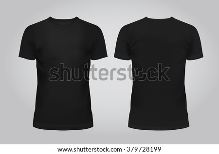 Vector illustration of design template black men T-shirt, front and back isolated on a light background. Contains gradient mesh elements. - stock vector