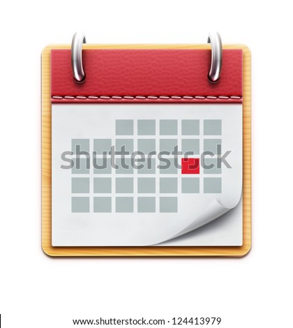 Vector illustration of detailed beautiful calendar icon isolated on white background - stock vector
