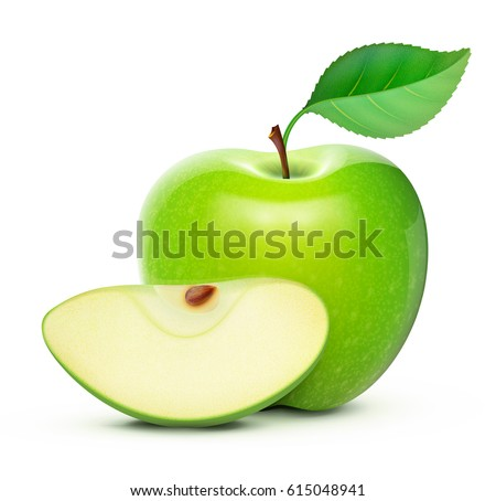 Vector illustration of detailed big shiny green apple