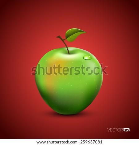 Vector illustration of detailed big shiny green apple on red background - stock vector
