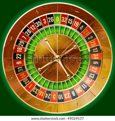 Vector illustration of detailed casino roulette wheel - stock vector