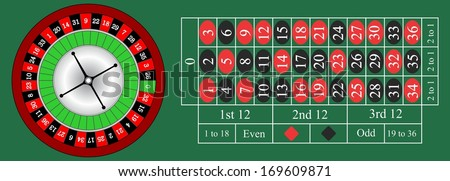 Vector illustration of detailed casino roulette wheel and horizontal illustration of a roulette table.