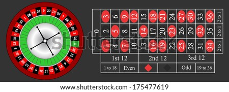 Vector illustration of detailed casino roulette wheel and horizontal illustration of a roulette table.  - stock vector
