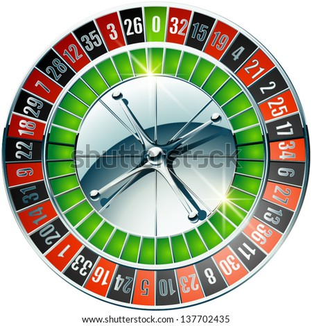 Vector illustration of detailed casino roulette wheel with chrome elements - stock vector
