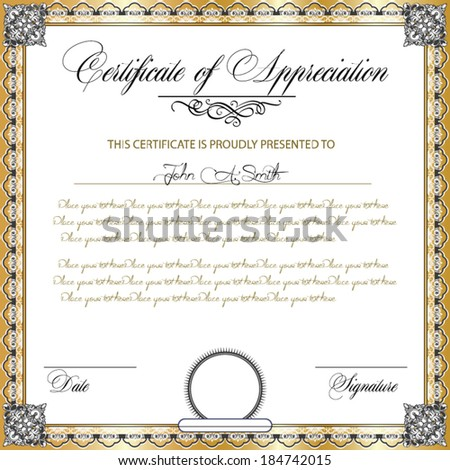 Vector illustration of detailed certificate - stock vector