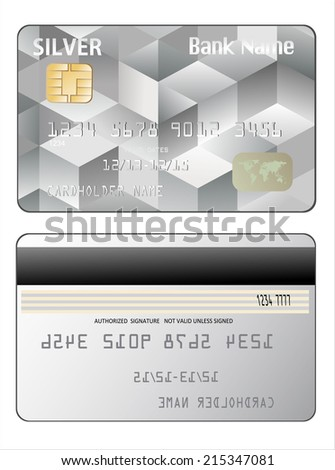 Vector illustration of detailed credit card isolated on white background - stock vector